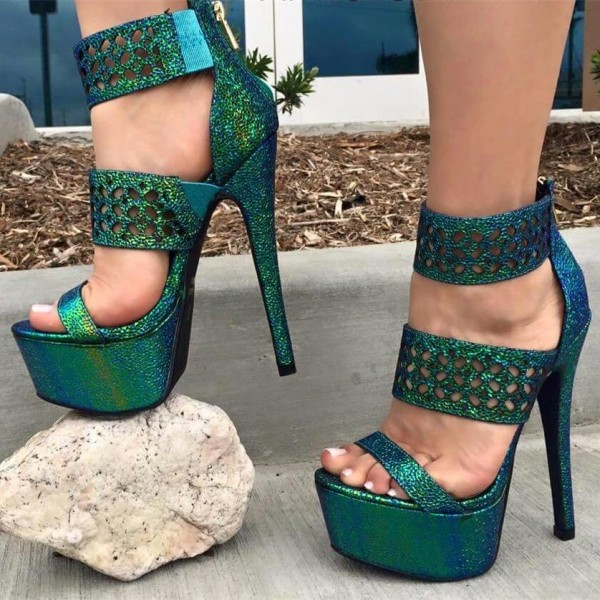 Green Platform Sandals Hollow out Open Toe High Heel Shoes image 1