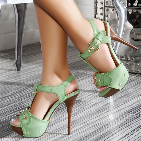 Green T Strap Heels Open Toe Platform High Heel Vintage Sandals image 1