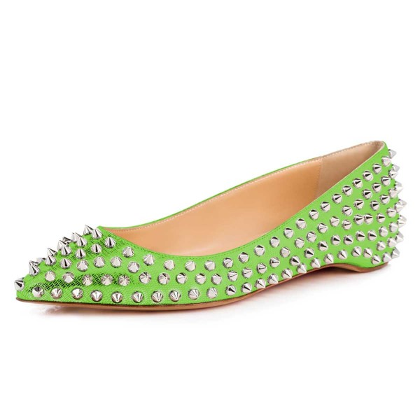 Green Pointy Toe Flats Python Comfortable Shoes with Rivets image 1