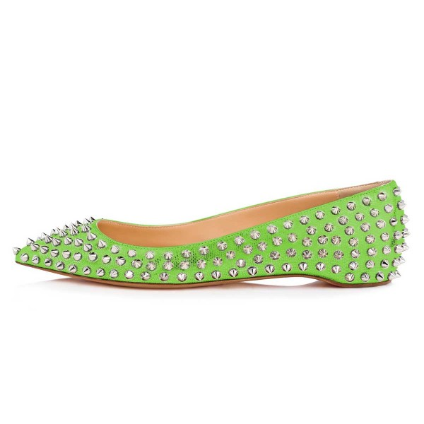 Green Pointy Toe Flats Python Comfortable Shoes with Rivets image 4