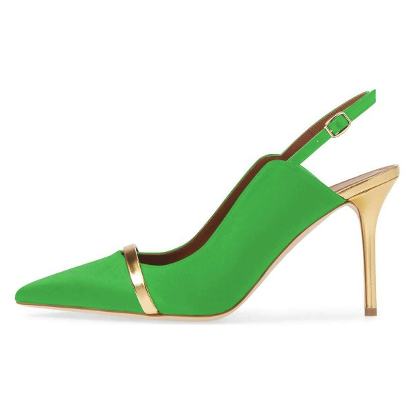Green Pointy Toe Gold Strap Stiletto Heel Slingback Pumps image 3