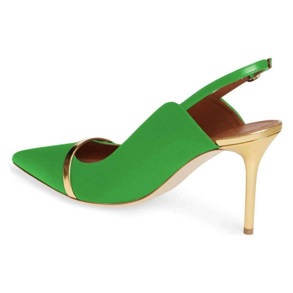 Green Pointy Toe Gold Strap Stiletto Heel Slingback Pumps image 2