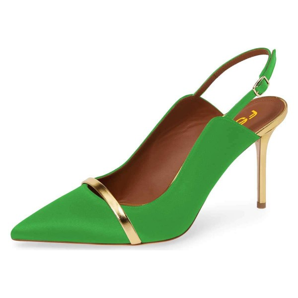 Green Pointy Toe Gold Strap Stiletto Heel Slingback Pumps image 1