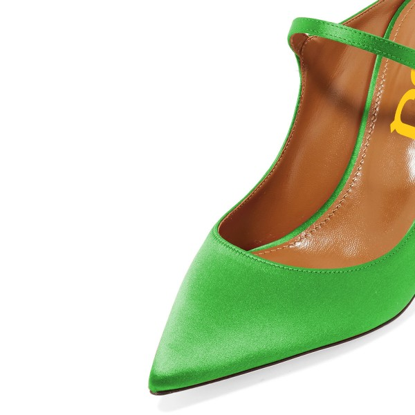 Green Pointy Toe Mule Stiletto Heels sandals for Women image 3