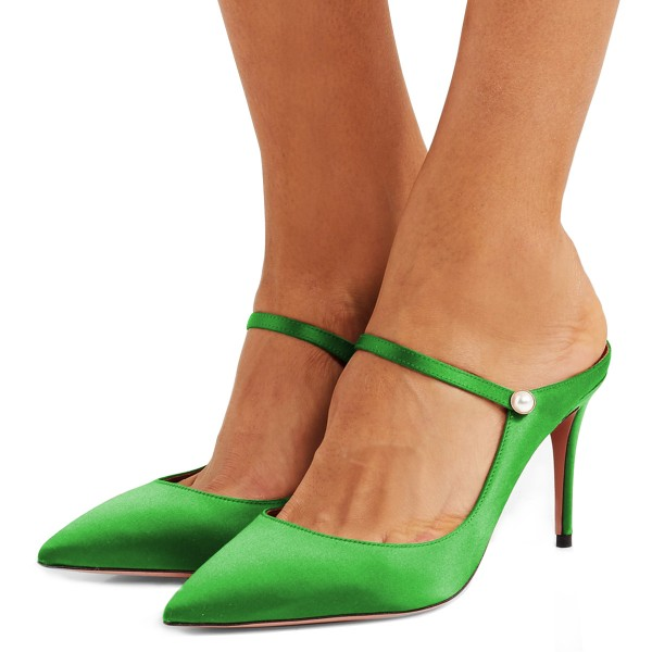Green Pointy Toe Mule Stiletto Heels sandals for Women image 1