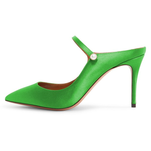 Green Pointy Toe Mule Stiletto Heels sandals for Women image 2
