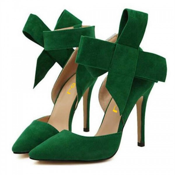 Women's Green Ankle Strap Sandals Pointy Toe D'orsay Pump with Bow image 1