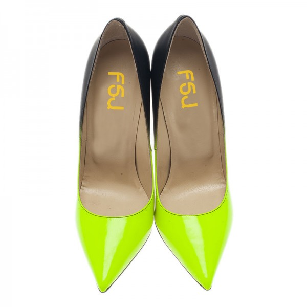 Lime and Black Stiletto Heels Pointy Toe High Heels image 5
