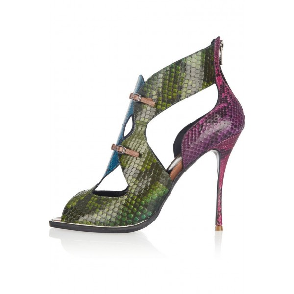 0b8bd8d036a7 Multicolor Snakeskin Vegan Shoes Cut out Peep Toe Stiletto Heel Pumps image  1 ...