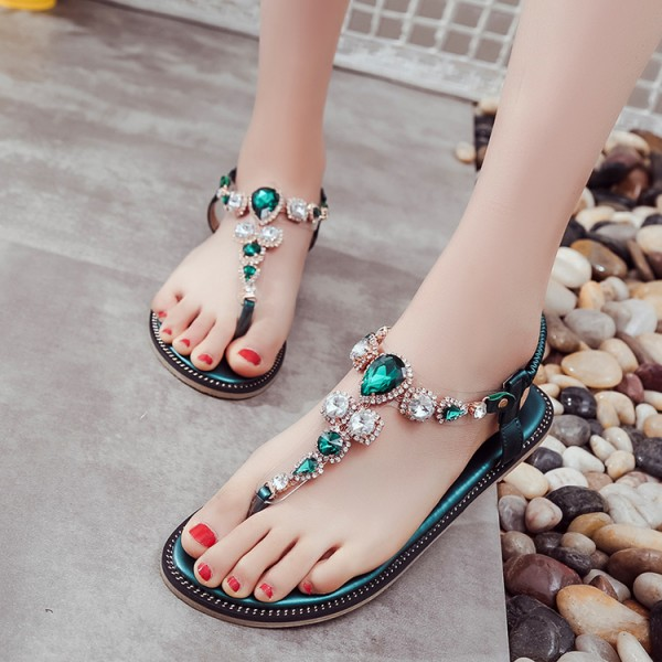 5dabd57f743 Green Rhinestone T Strap Wedding Sandals image 1 ...