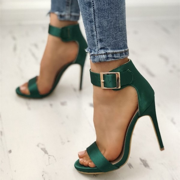 Green Satin Open Toe Stiletto Heels Buckle Ankle Strap Sandals image 2