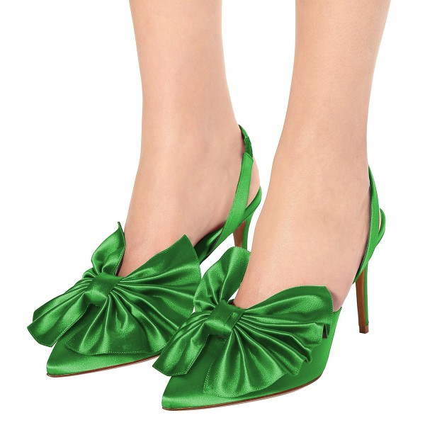 Green Satin Bow Heels Almond Toe Stiletto Heel Slingback Pumps image 3