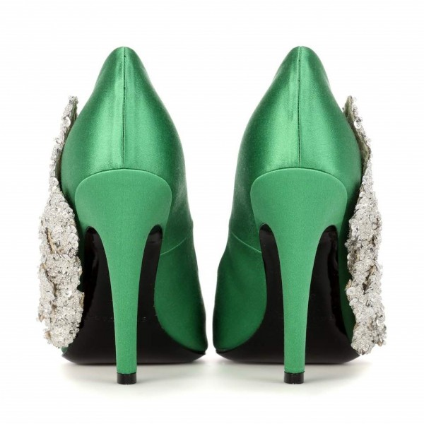 Green and Silver Sequined Prom Shoes Satin Stiletto Heels Pumps image 3