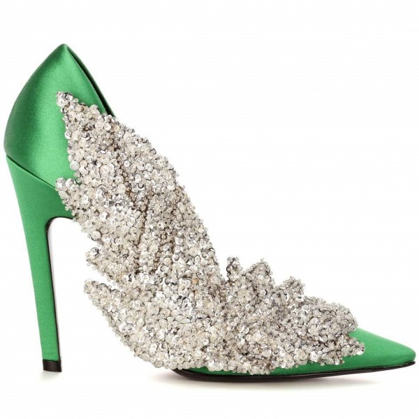 Green and Silver Sequined Prom Shoes Satin Stiletto Heels Pumps image 4