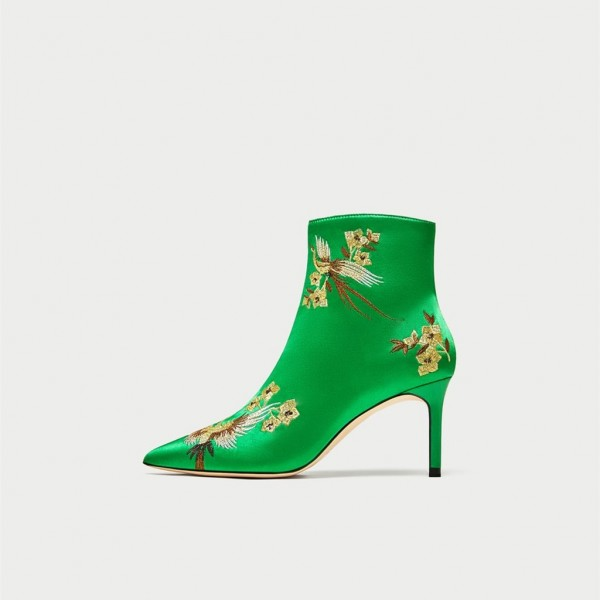 Green Satin Heeled Boots Floral Stiletto Heels Chic Ankle Boots  image 1