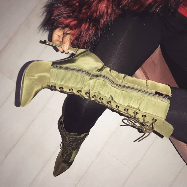 Green Satin Lace up Boots Stiletto Heels Mid Calf Boots for Women image 1