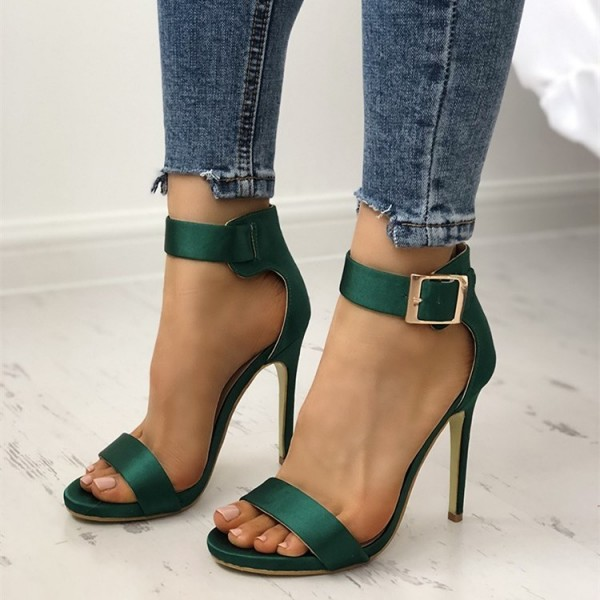 Green Satin Open Toe Stiletto Heels Buckle Ankle Strap Sandals image 3