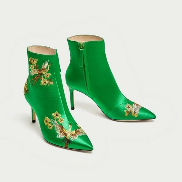 Green Satin Heeled Boots Floral Stiletto Heels Chic Ankle Boots  image 2