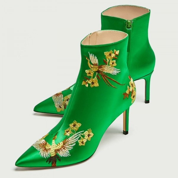Green Satin Heeled Boots Floral Stiletto Heels Chic Ankle Boots  image 4