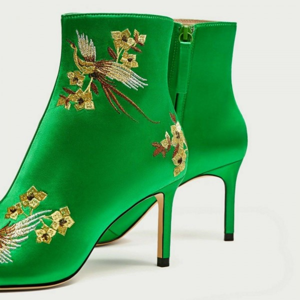 Green Satin Heeled Boots Floral Stiletto Heels Chic Ankle Boots  image 3