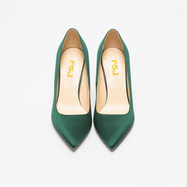 Green Satin Stiletto Heels Pointy Toe Dressy Pumps for Office Ladies image 4