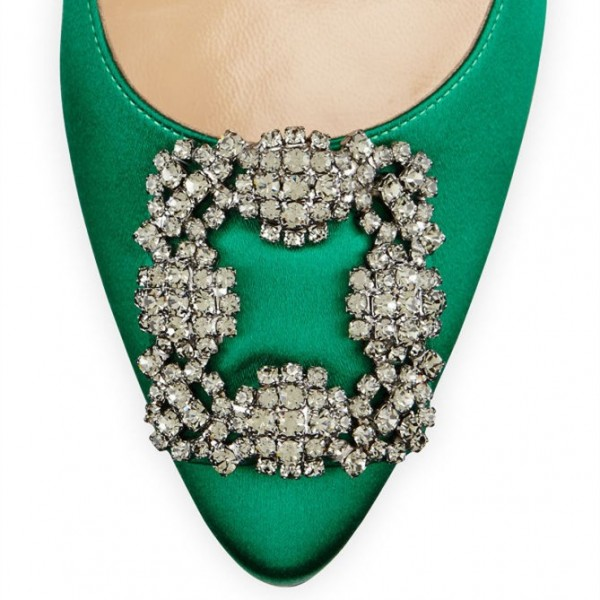 Green Prom Shoes Satin Stiletto Heel Pumps with Rhinestone Buckle image 3