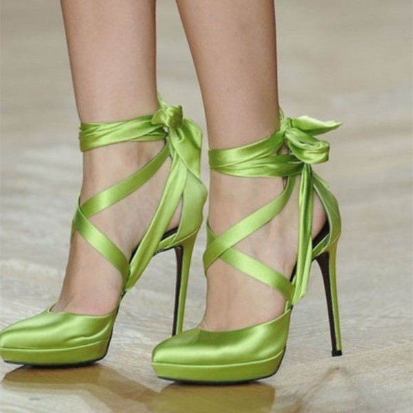 Green Satin Stiletto Heels Platform Heels Strappy Pumps image 1