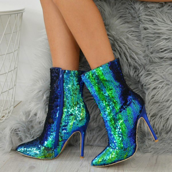 Green Sequined Stiletto Heel Fashion Boots image 4
