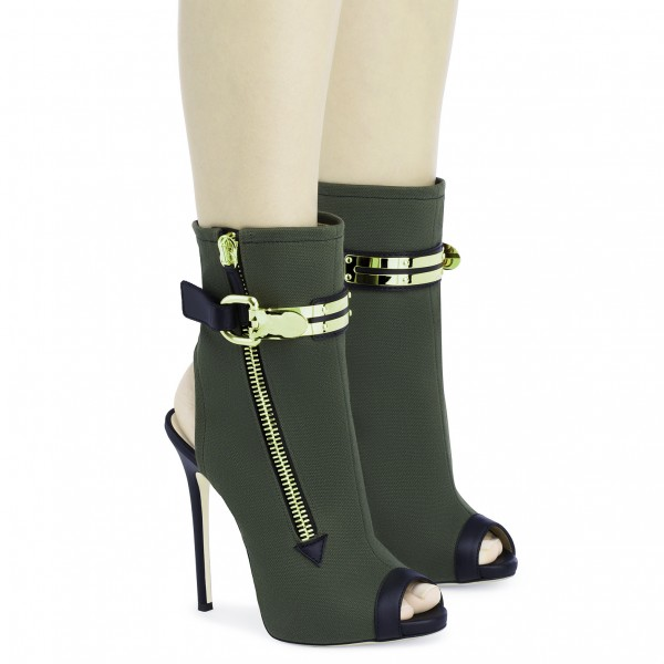 Dark Green Slingback Shoes Peep Toe Suede Stiletto Boots Ankle Booties image 2