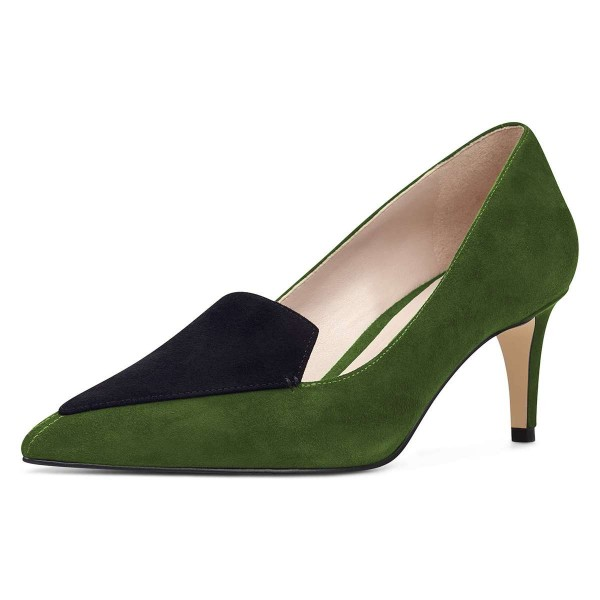 Green Suede Office Heels Pointy Toe Pumps image 1