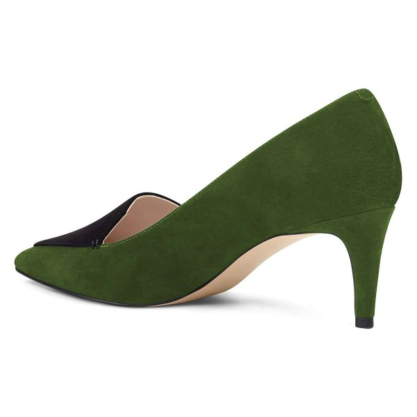 Green Suede Office Heels Pointy Toe Pumps image 3