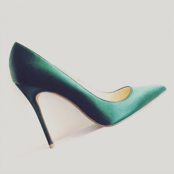 Green Satin Stiletto Heels Pointy Toe Dressy Pumps for Office Ladies image 3