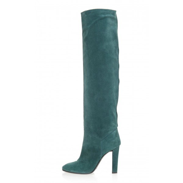 Teal Tall Boots Chunky Heel Suede Knee Boots image 3