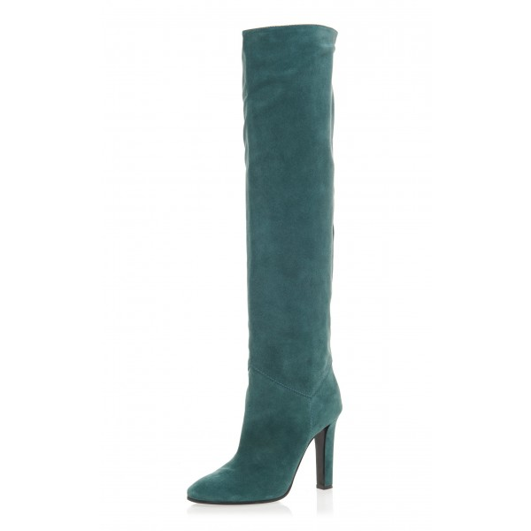 Teal Tall Boots Chunky Heel Suede Knee Boots image 1
