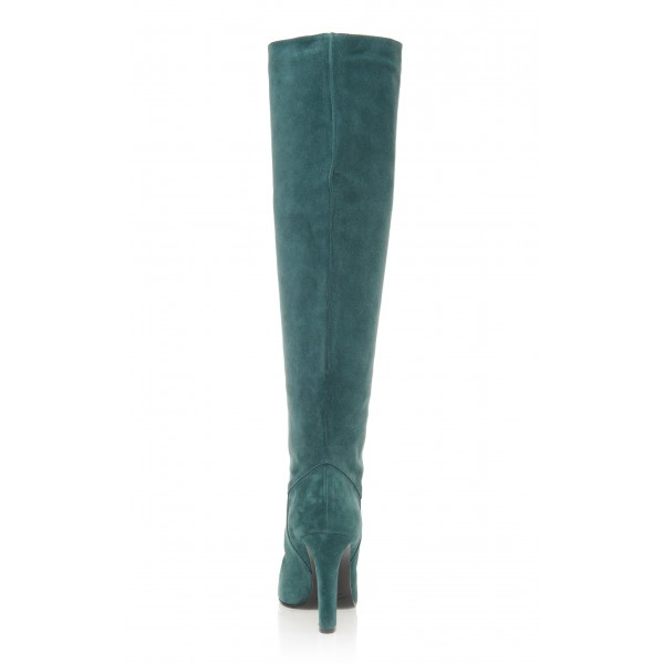 Teal Tall Boots Chunky Heel Suede Knee Boots image 4
