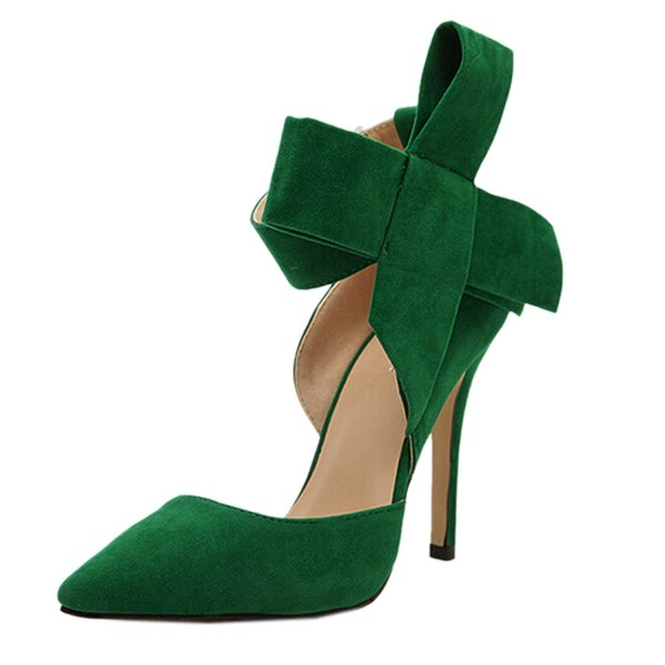 Women's Green Ankle Strap Sandals Pointy Toe D'orsay Pump with Bow image 3
