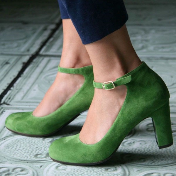 Green Suede Ankle Strap Heels Vintage Round Toe Chunky Heel Pumps image 1