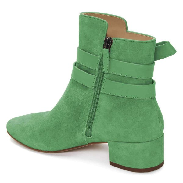 Green Suede Boots Bow Chunky Heel Ankle Boots image 2