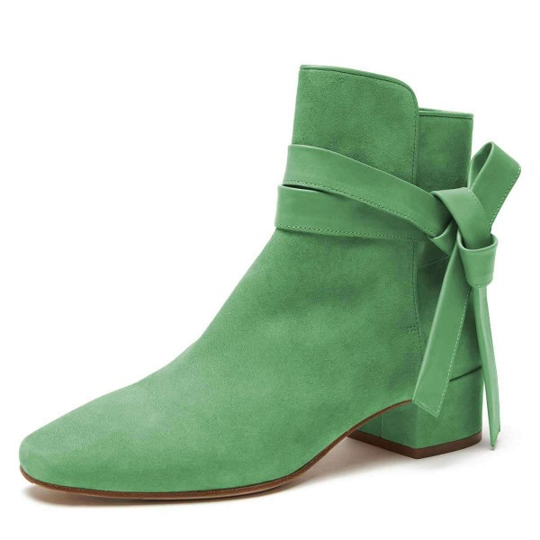 Green Suede Boots Bow Chunky Heel Ankle Boots image 1