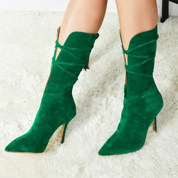 Green Suede Boots Pointed Toe Stiletto Heel Mid Calf Boots image 1