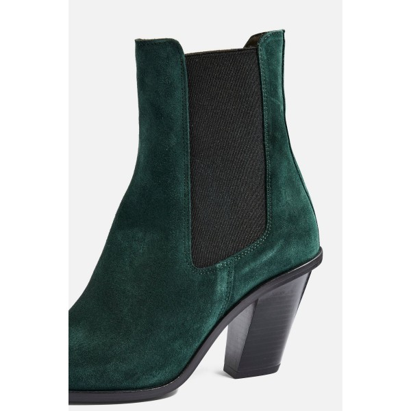 Green Suede Chelsea Boots Chunky Heels Ankle Boots image 3