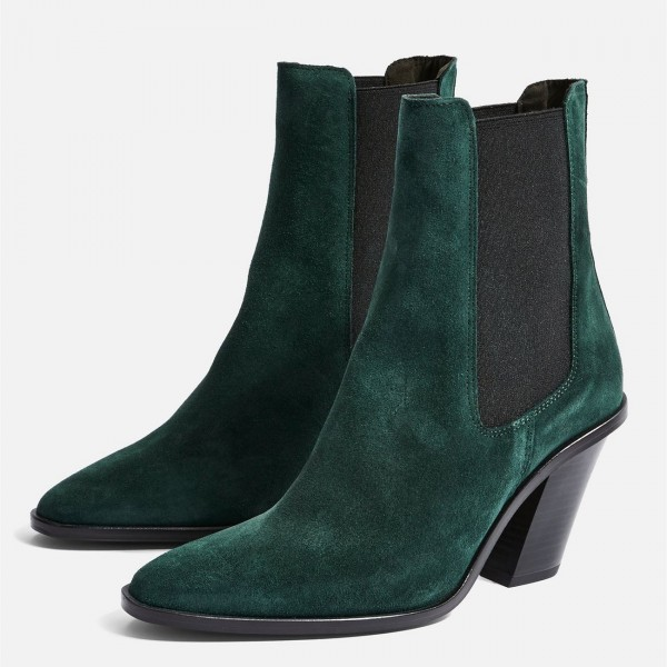 Green Suede Chelsea Boots Chunky Heels Ankle Boots image 1