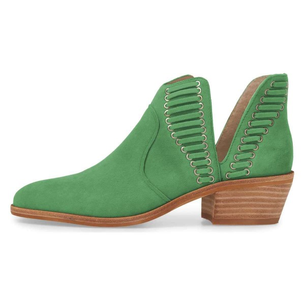 Green Suede Chunky Heel Ankle Boots Summer Boots image 2