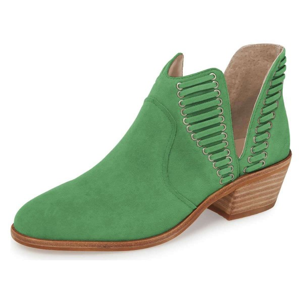 Green Suede Chunky Heel Ankle Boots Summer Boots image 1