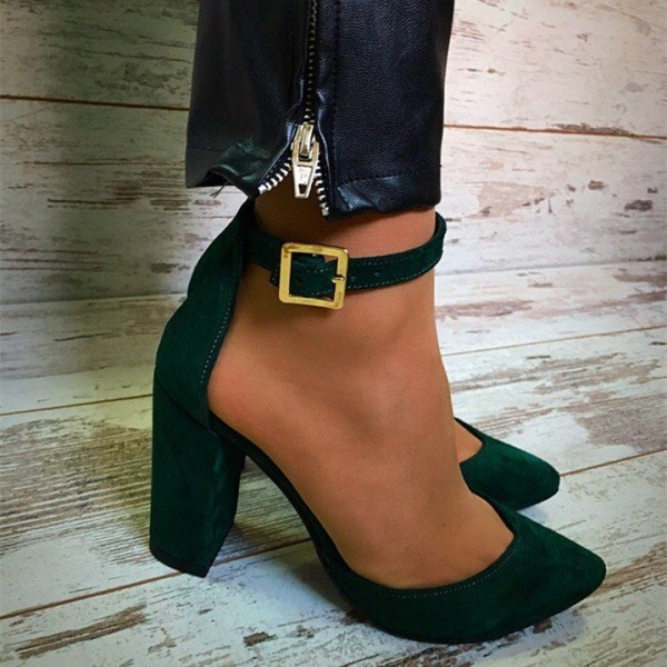 Women's Green Chunky Heels Ankle Strap Heels Pointed Toe Pumps image 2