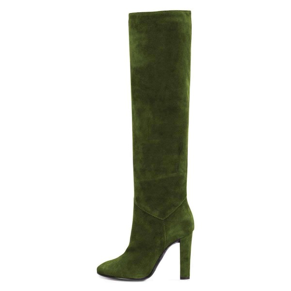 Green Suede Chunky Heel Boots Knee-high Boots image 4