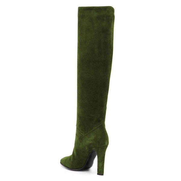 Green Suede Chunky Heel Boots Knee-high Boots image 2