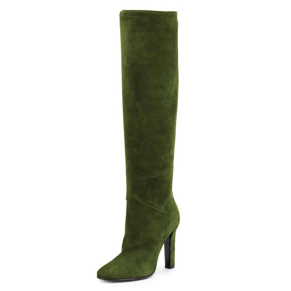 Green Suede Chunky Heel Boots Knee-high Boots image 1