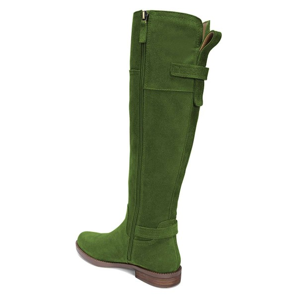 Green Suede Flat Knee Boots Knee High Boots image 3