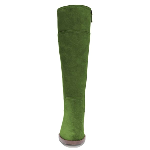 Green Suede Flat Knee Boots Knee High Boots image 5